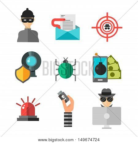 Internet security safety icons. Virus attack vector icons. Internet data protection security. Technology cloud network icons. IT security concept icons infographic design elements. Cyber crimes