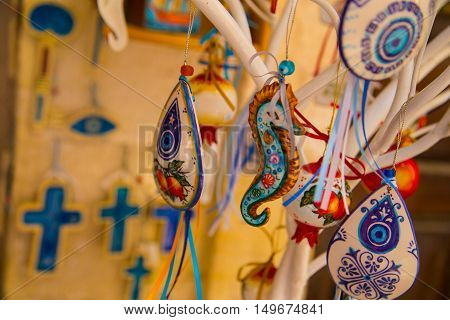 glass souvenirs in shop  of Rethymnon Crete Greece