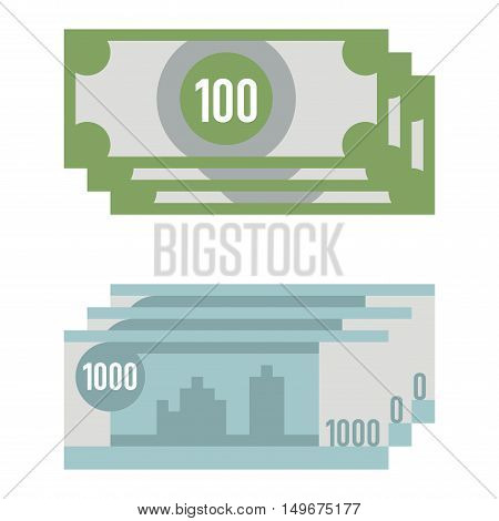 Money paper business finance money concept and paper money stack of bundles. Money of paper business, banking edition banknotes bills isolated on white