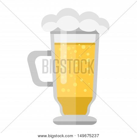Beer glass isolated on white background. Light beer cup alcohol alcohol drink. Beer cup mug liquid white foam and bubble cold drip. Golden light beer glass