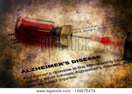 CLose up of Alzheimer disease grunge concept