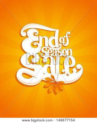 End of autumn season sale typographic vector illustration, rasterized version