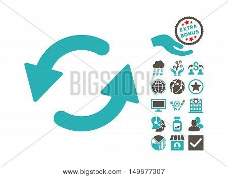 Refresh CCW pictograph with bonus images. Vector illustration style is flat iconic bicolor symbols, grey and cyan colors, white background.