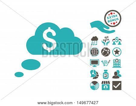 Richness Dream Clouds icon with bonus images. Vector illustration style is flat iconic bicolor symbols grey and cyan colors white background.