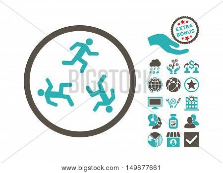 Running Men pictograph with bonus clip art. Vector illustration style is flat iconic bicolor symbols, grey and cyan colors, white background.