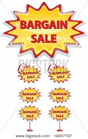 Set Of Red And Yellow Sale Icons Isolated On White - Bargain Sale