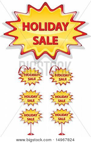 Set Of Red And Yellow Sale Icons Isolated On White - Holiday Sale