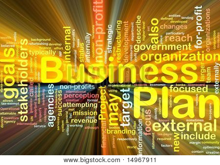 Word cloud concept illustration of business plan glowing light effect poster
