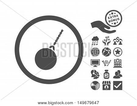 Destruction Hammer icon with bonus design elements. Vector illustration style is flat iconic symbols gray color white background.