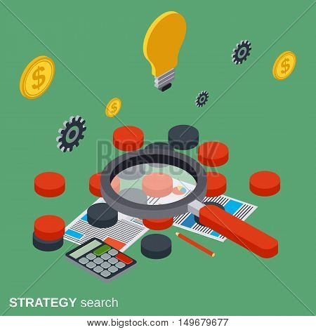 Strategy search, solution choice, business quest flat isometric vector concept illustration