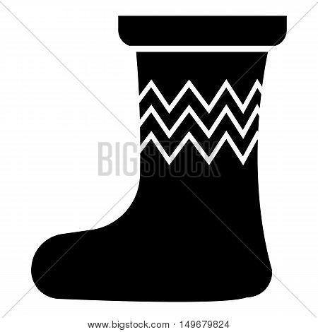 Christmas sock icon in simple style isolated on white background. New year symbol vector illustration