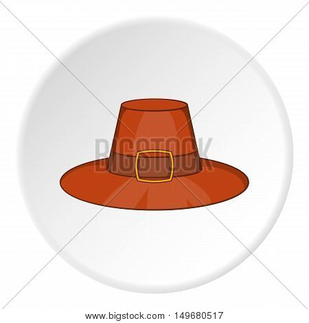 Gentlemans hat icon in cartoon style on white circle background. Headdress symbol vector illustration