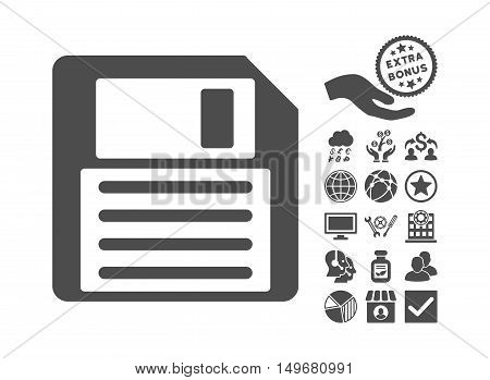 Floppy icon with bonus pictures. Vector illustration style is flat iconic symbols gray color white background.