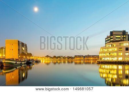 Beautiful night view of buildings on St Katherine Docks
