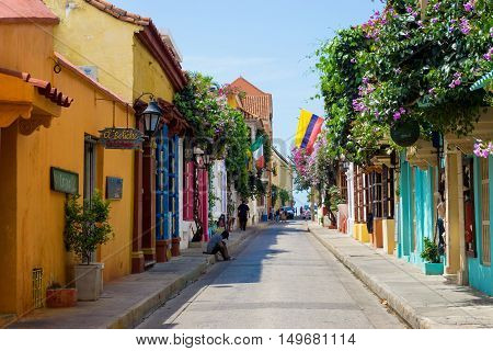 CARTAGENA COLOMBIA - MAY 23: Street scene in the historic old city of Cartagena Colombia on May 23 2016