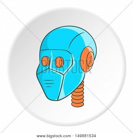 Robot head icon in cartoon style on white circle background. Technology symbol vector illustration