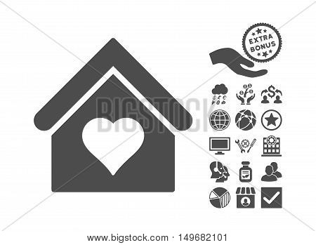 Love House pictograph with bonus pictogram. Vector illustration style is flat iconic symbols gray color white background.