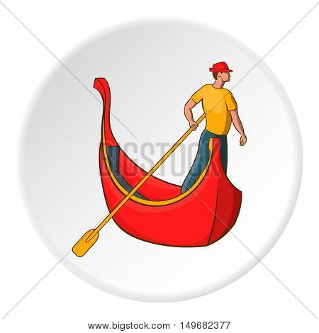 Gondola and gondolier icon in cartoon style on white circle background. Swimming symbol vector illustration