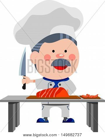 Vector illustration of a chef cooking sushi