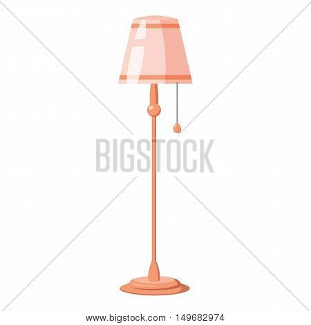 Floor lamp on a long stalk icon in cartoon style isolated on white background. Lighting and equipment symbol vector illustration
