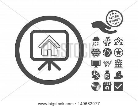 Project Slideshow icon with bonus images. Vector illustration style is flat iconic symbols, gray color, white background.