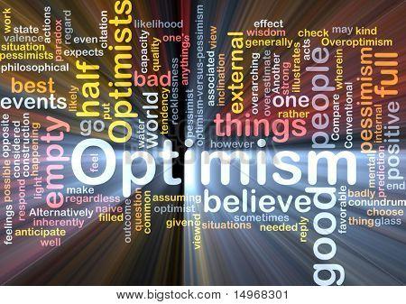 Ilustração de conceito de nuvem de palavra de otimismo optimist brilhante efeito da luz