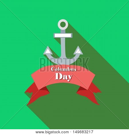 Anchor and ribbon of Columbus day icon in flat style with long shadow. Holiday symbol vector illustration