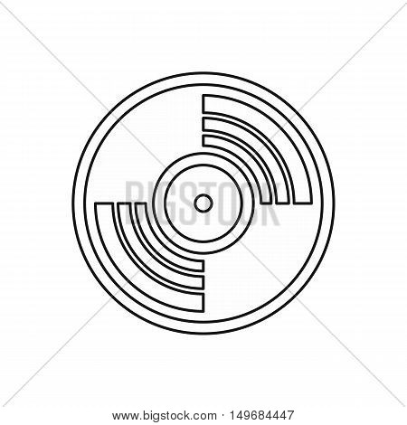 Vinyl music record icon in outline style isolated on white background vector illustration