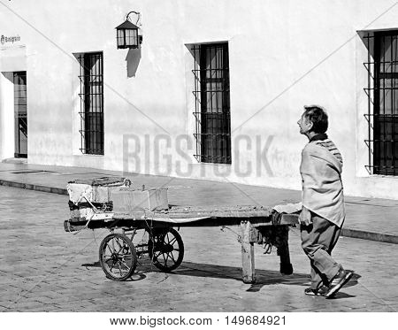 Image of a man in early morning on his way to work.