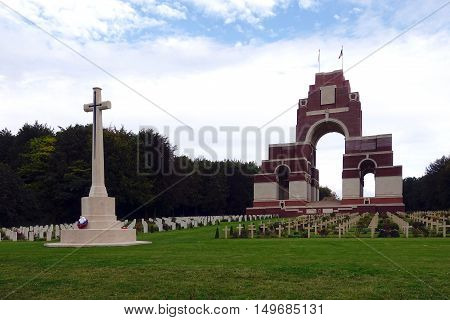 Thiepval, France, September 26, 2016: The Anglo-French WWI memorial and Cemetery in Thiepval, France.
