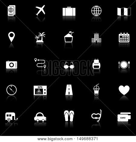 Trip icons with reflect on black background, stock vector