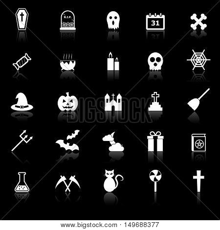 Halloween icons with reflect on black background, stock vector