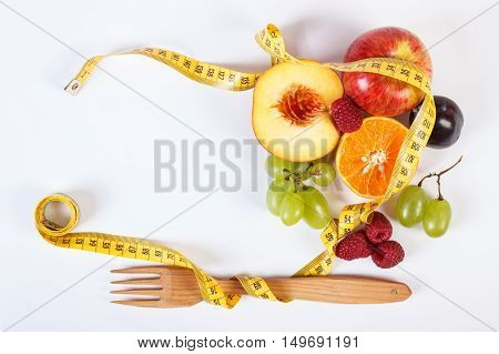 Fresh Ripe Fruits And Fork With Centimeter On White Background, Copy Space For Text