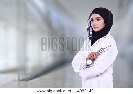 Muslimah Doctor Isolated In Blur Background