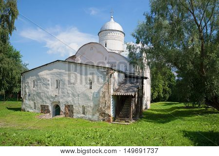 View of the medieval church of Clement Pope of Rome on Ivorova Street (1153), sunny July afternoon. Veliky Novgorod Russia