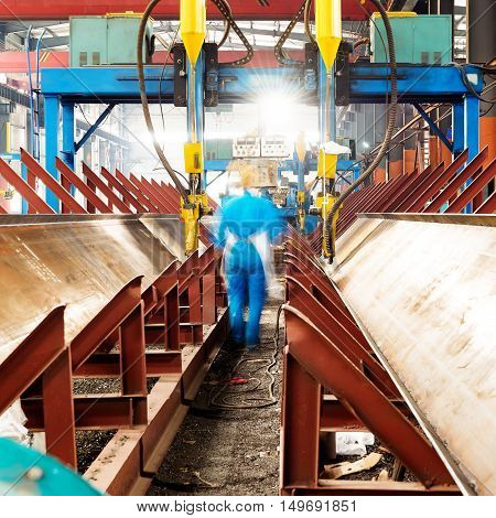 Steel plant production plant and factory workers