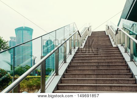 Stairs in the outdoor under the sky urban abstract landscape