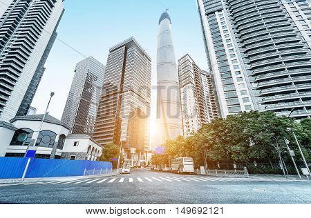 Shanghai, China, the landmark of modern urban landscape architecture