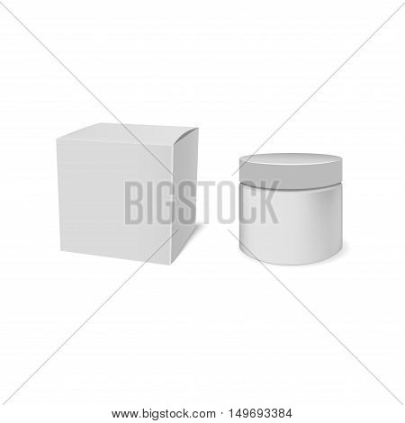 Realistic white jar of cream and packaging. Jar For Cosmetics Or Artistic Paint, Creams, Toothpaste, Gel, Sauce, Paint, Glue, Ointments, Lotions Medicines Vector Separate elements