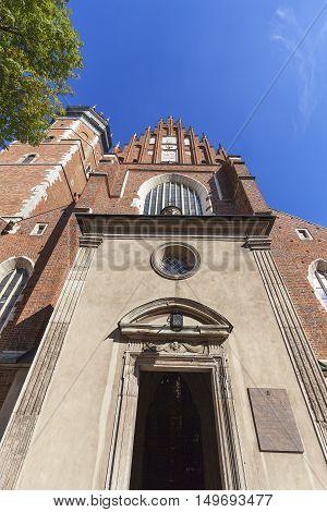 Roman catholic 14th century churchCorpus Christi Basilica in Jewish district Kazimierz Krakow Poland