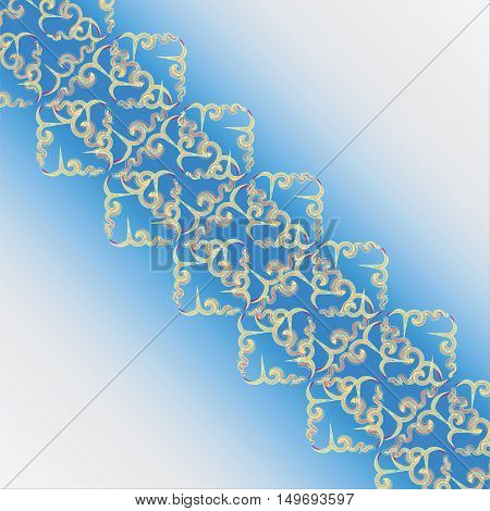 Openwork square in the cold tones. Pattern on a light background. Design for decoration of textile, tapestries wrapping paper.