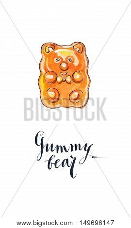 Orange jelly gummy bear candy fruit flavored gummy bear hand drawn - watercolor Illustration