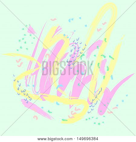 Abstract pattern of various shapes smear soft pastel colors in an arbitrary manner. Background. Vector illustration