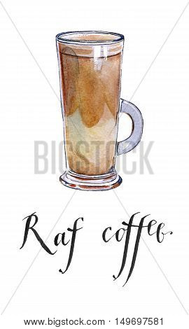 Raf coffee hand drawn - watercolor Illustration