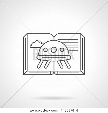 Open book with image of alien ship or UFO. Science fiction literary, space theme. Genres of literature. Black flat line vector icon.