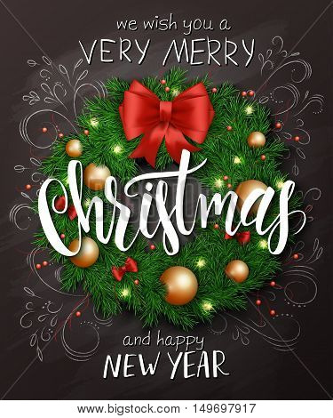 Vector christmas poster with christmas decoration spruce wreath with christmas ornaments, bows, and lettering greetings text
