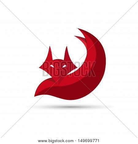 Vector sign red Fox. Concept of cunning