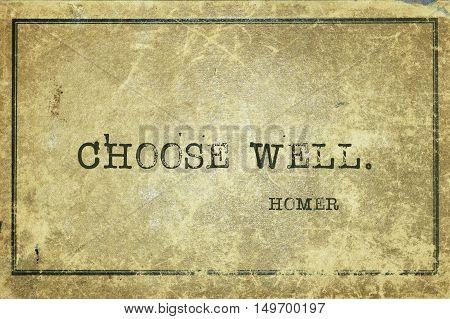 Choose Well Homer
