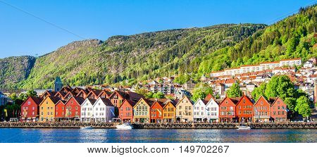 A daytime view of Bergen's cityscape, Norway