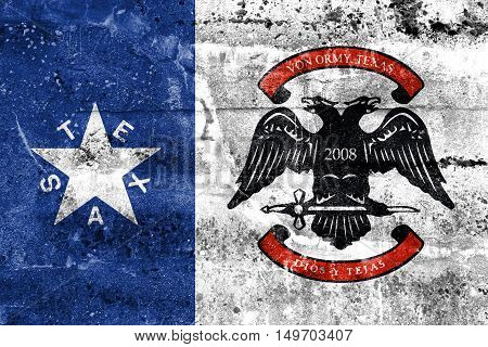 Flag Of Von Ormy, Texas, Usa, Painted On Dirty Wall
